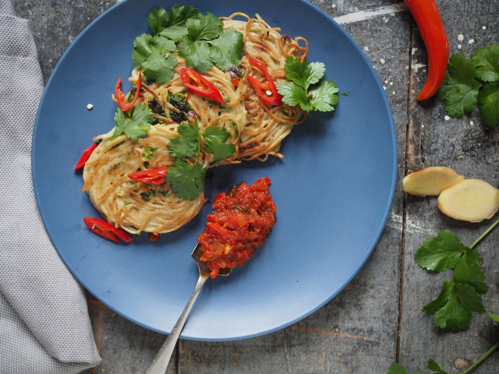 Crispy Soba Noodle Cakes with Easy Chilli Chutney